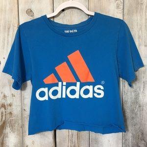 Adidas Custom Cut Crop Top Blue Size Small